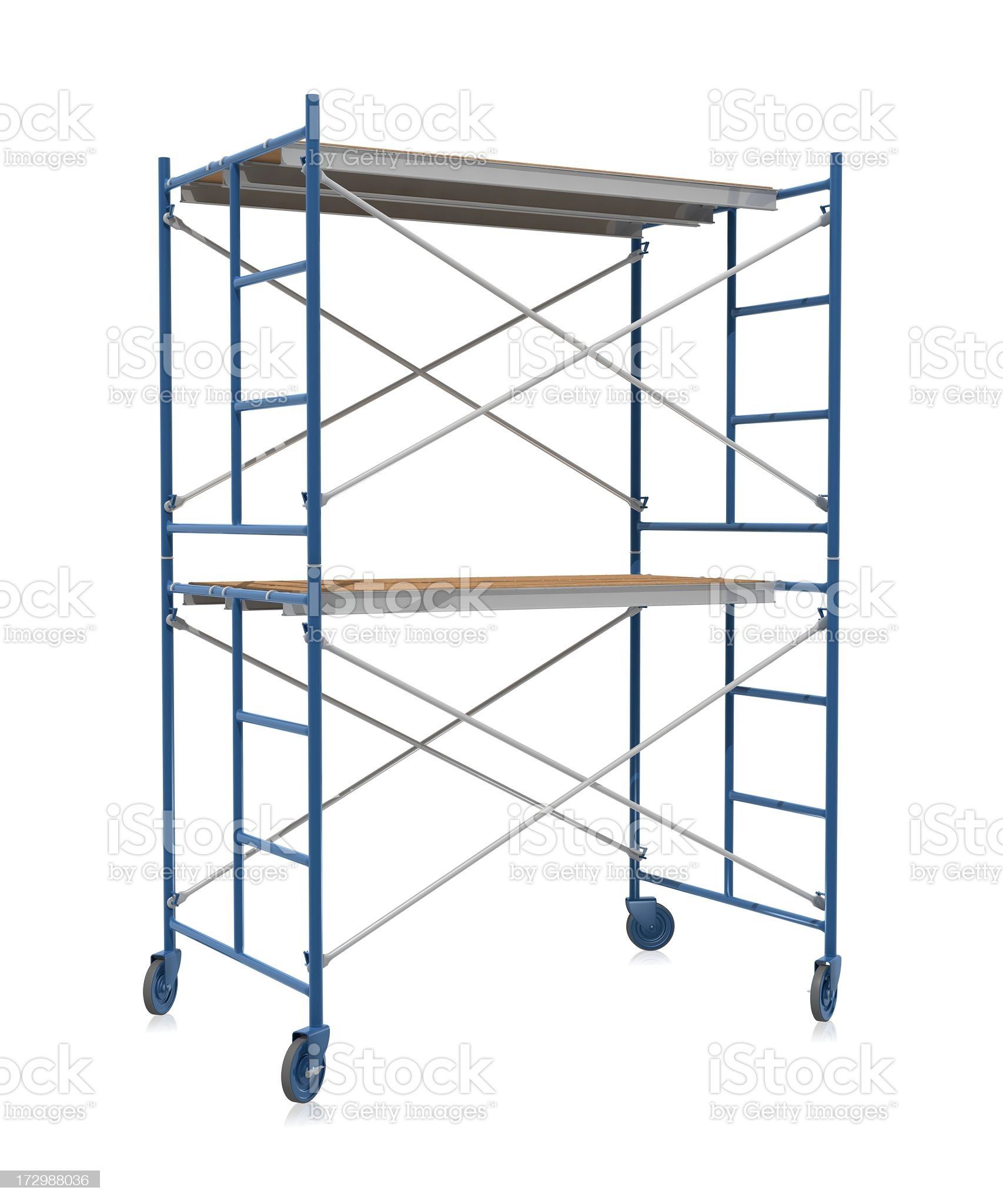Scaffolding on wheels on a white background royalty-free stock photo