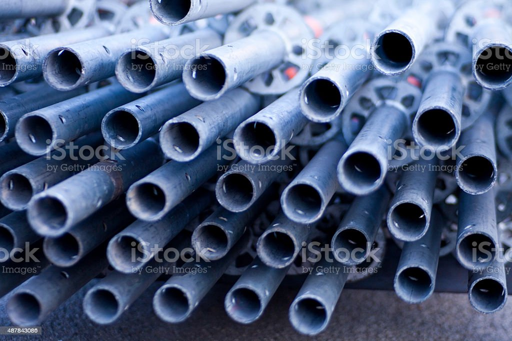 Scaffolding piled pipes stock photo