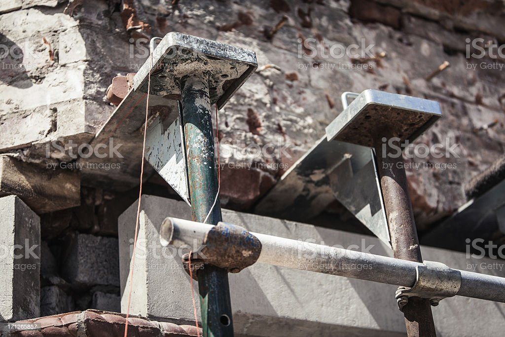 Scaffolding props on a building stock photo