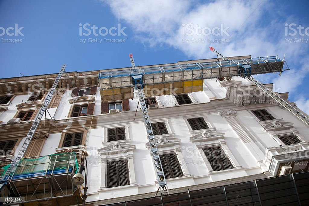 Scaffolding used to renovate an old building  royalty-free stock photo