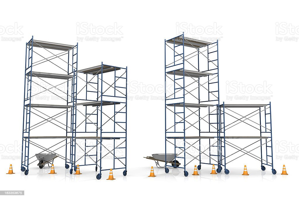 Scaffolding with construction cones on a white background stock photo