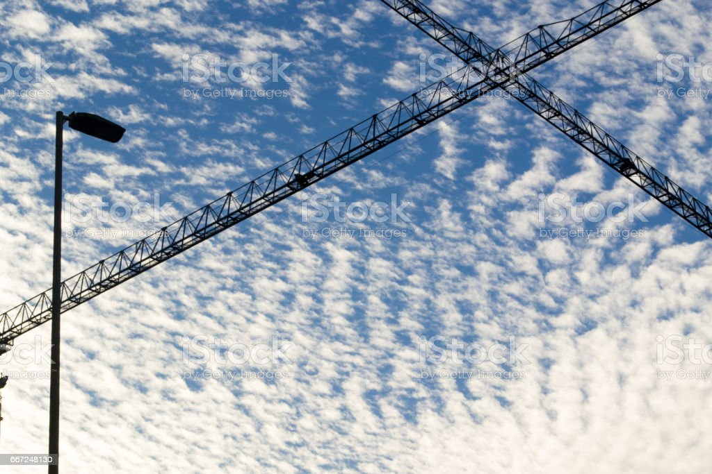 Scaffonld against the clouds stock photo