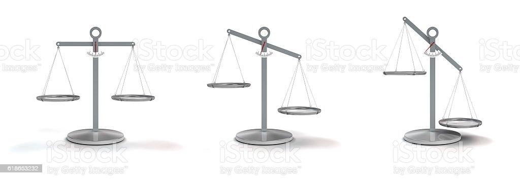 scale balanced and unbalanced stock photo