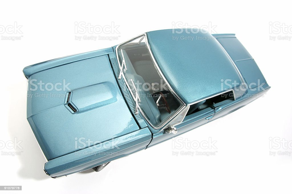 Scale classic US toycar 1965 fisheye picture stock photo