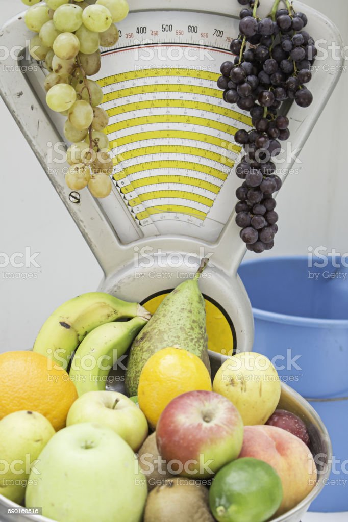 Scale greengrocers stock photo
