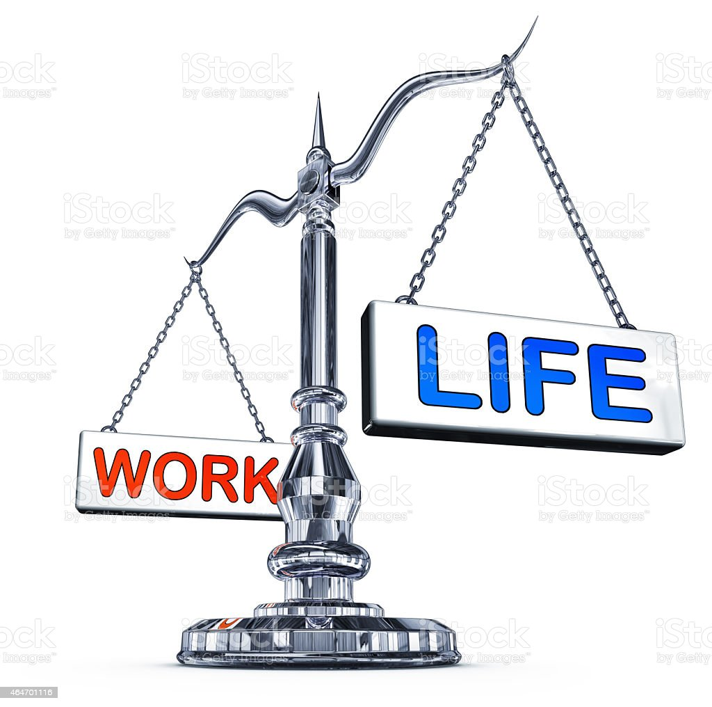 A scale measuring the balance between work and life stock photo