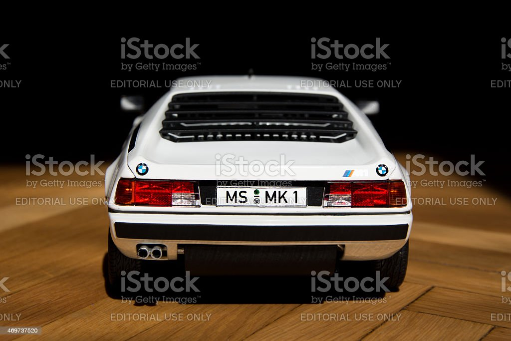 BMW scale model 1:18 sport coupe M1 stock photo