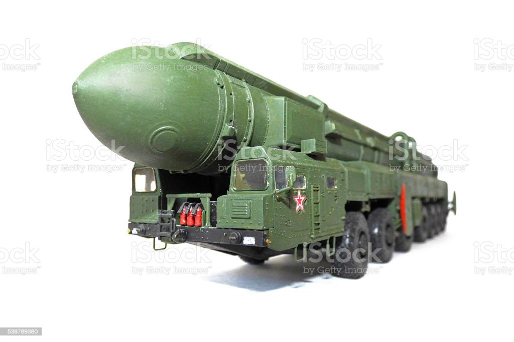 Scale model of russian mobile missile stock photo