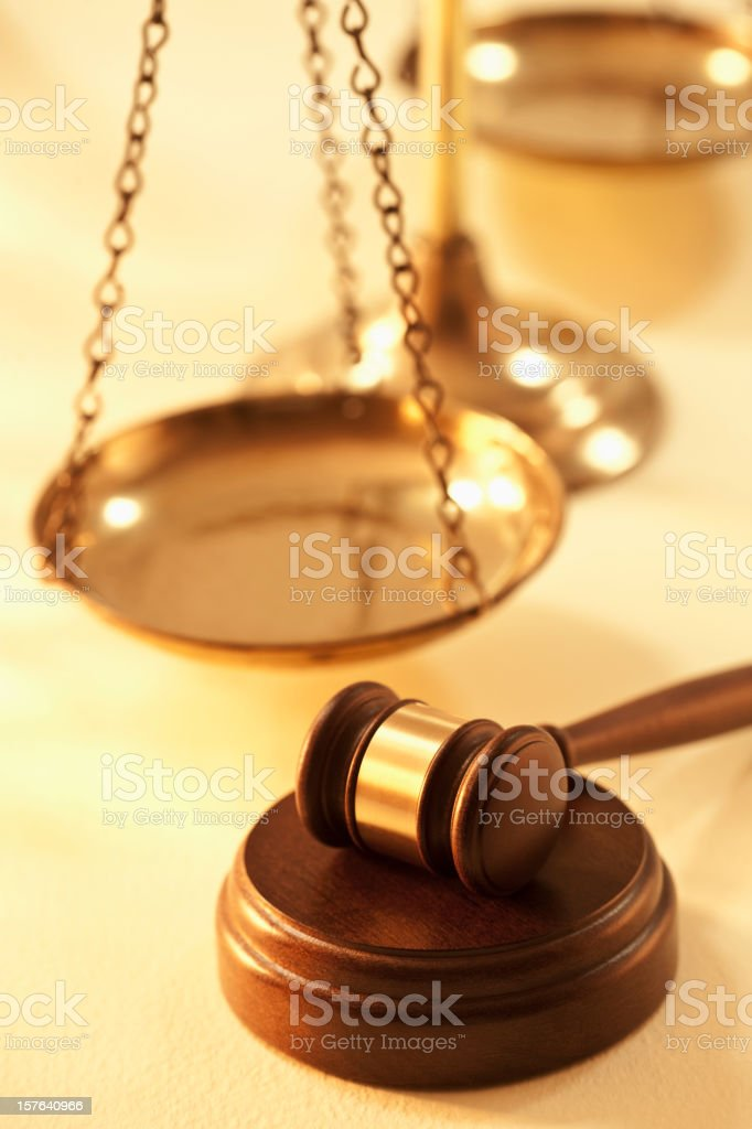 Scale of Justice and Gavel royalty-free stock photo
