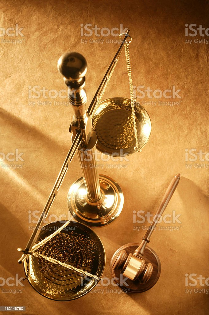 Scale of Justice & Gavel royalty-free stock photo