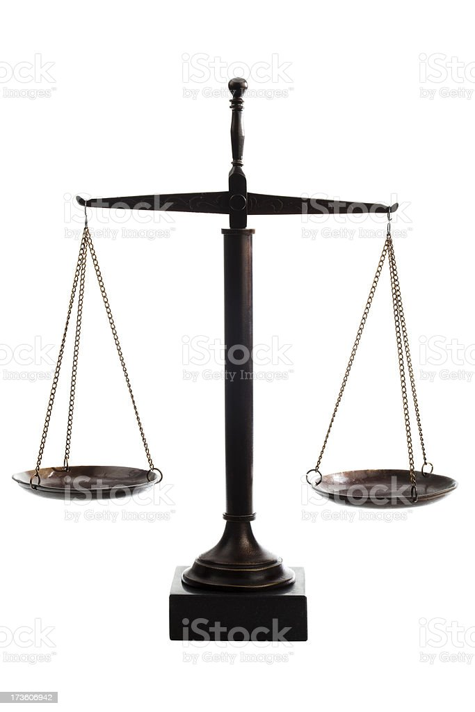 Scale of Justice on white background royalty-free stock photo
