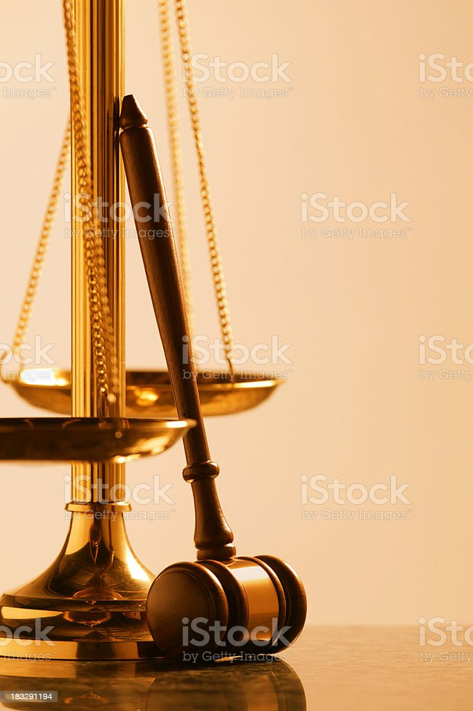 Scale of Justice with Gavel royalty-free stock photo