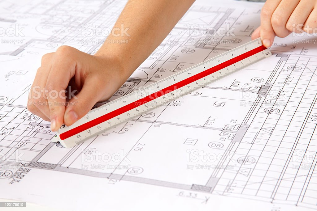 Scale Ruler on Blueprints royalty-free stock photo