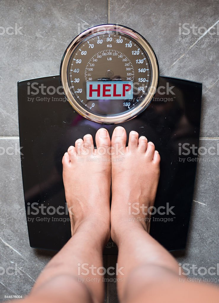 scale speaks and tells the truth, help! stock photo