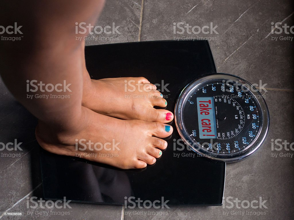scale speaks and tells the truth, Take care! stock photo