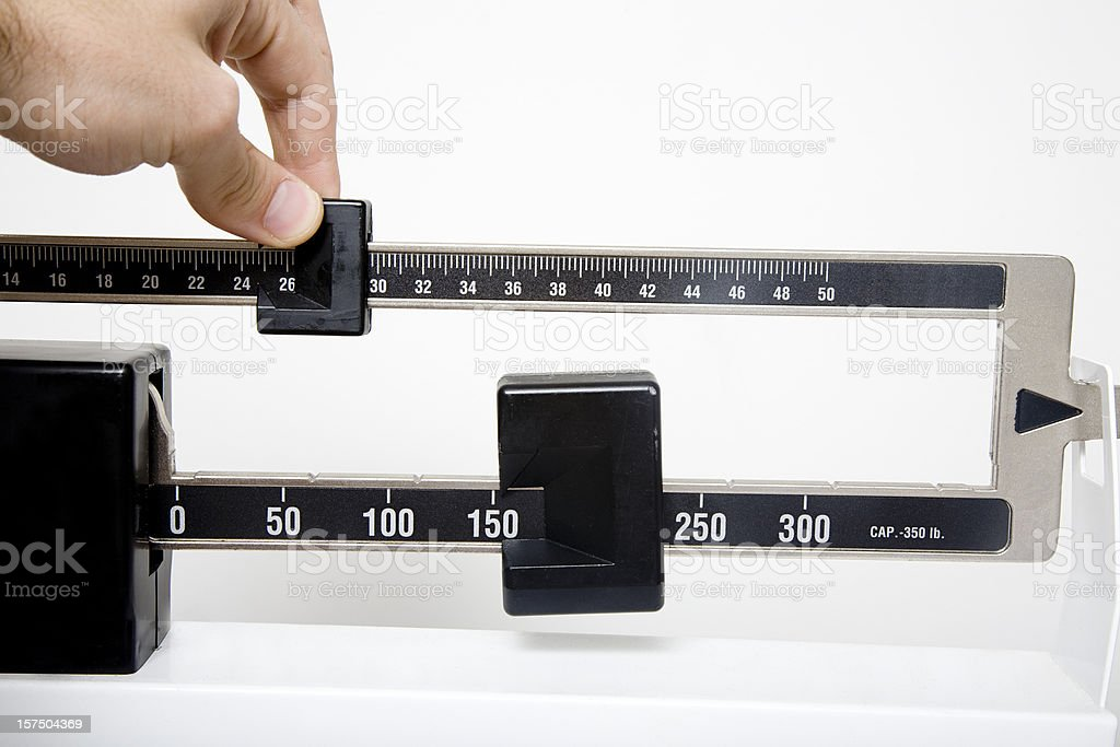Scale to measure lengths with an adjustable slider stock photo