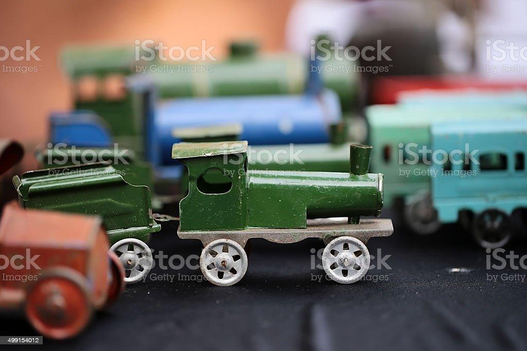 Scaled retro steam train collection stock photo