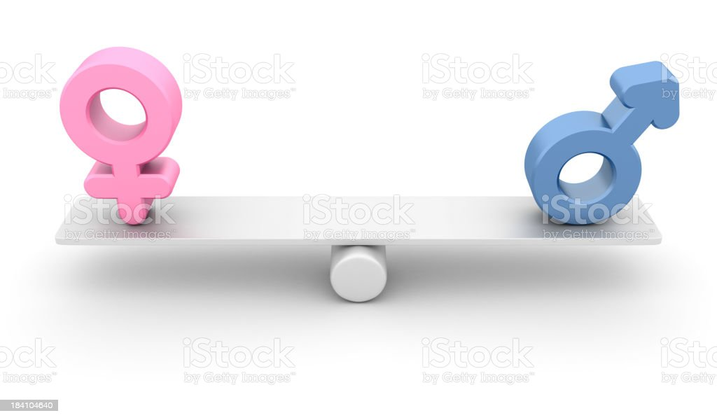 Scaled showing the balance between male and female royalty-free stock photo