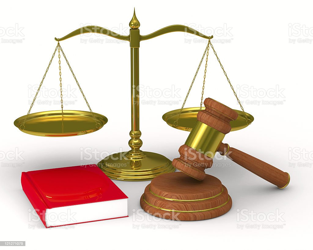 Scales justice and hammer on white background. Isolated 3D image royalty-free stock photo