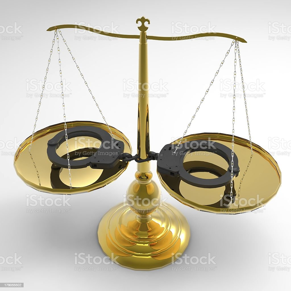 Scales of justice and handcuffs royalty-free stock photo