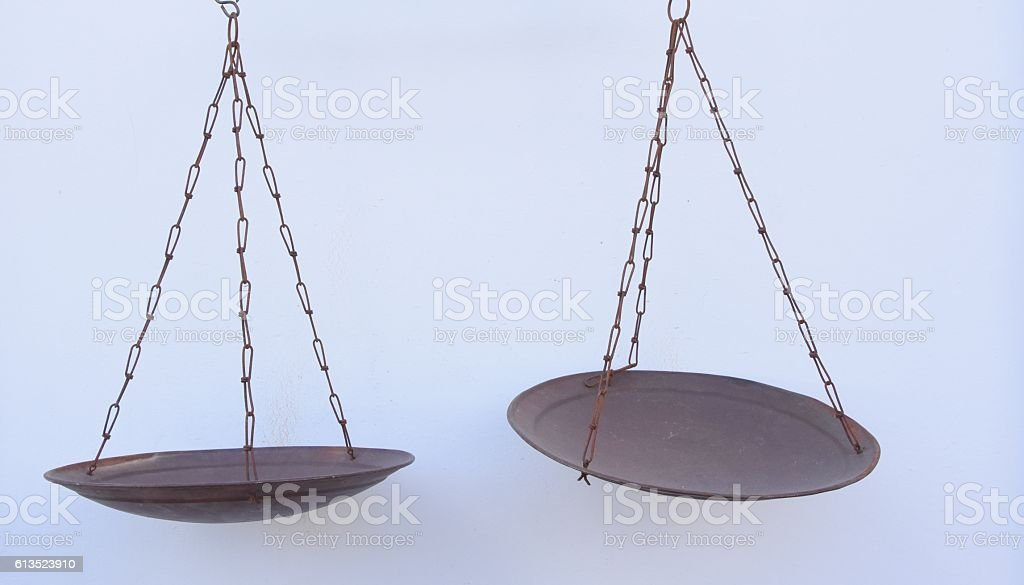 Scales of justice isolated on white stock photo