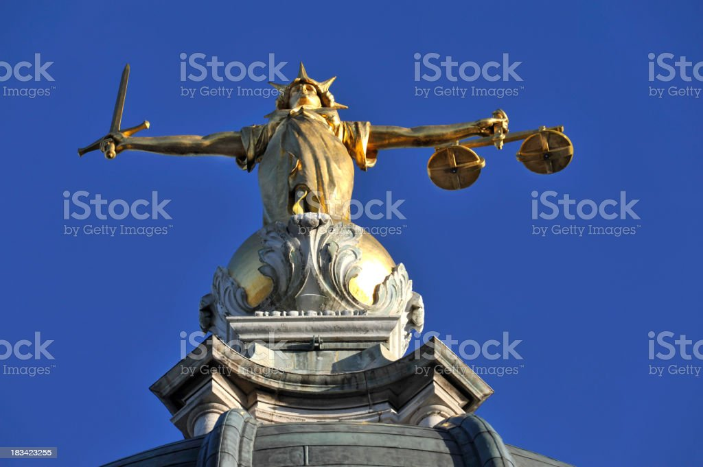 Scales of justice. Old Bailey. London England. stock photo