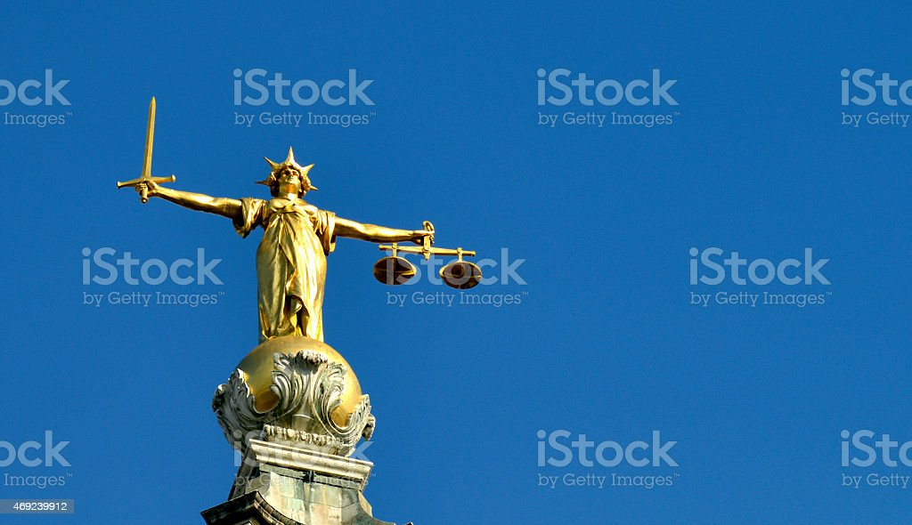 Scales of justice old bailey London UK. stock photo