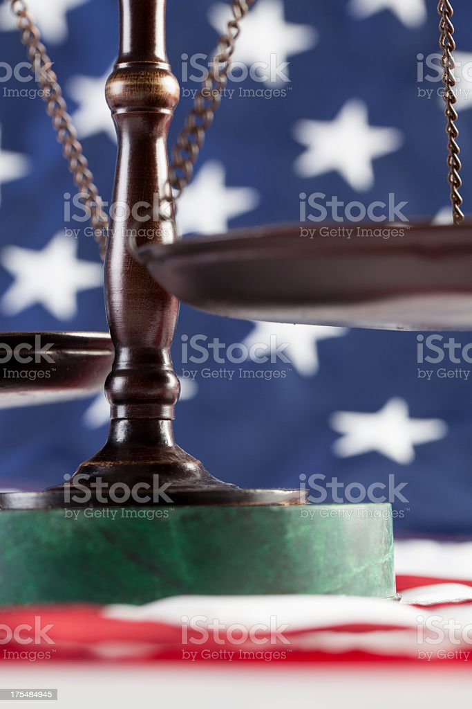 Scales of Justice on Flag royalty-free stock photo