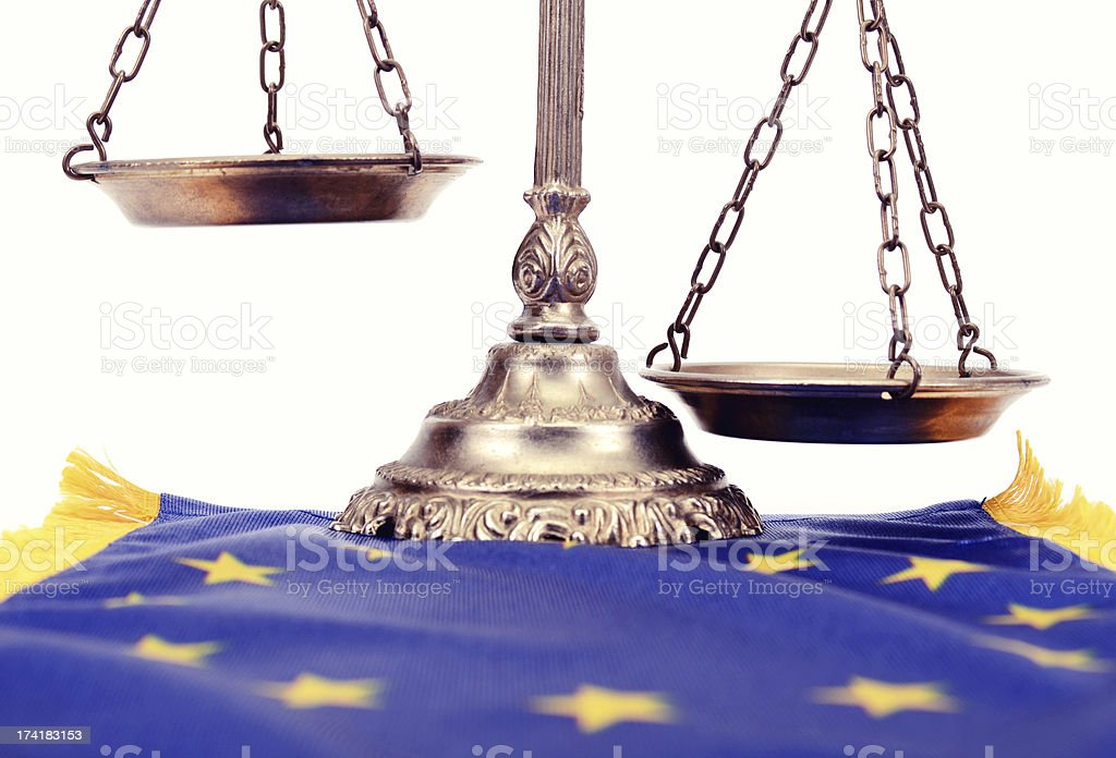 Scales of justice on the European Union flag royalty-free stock photo