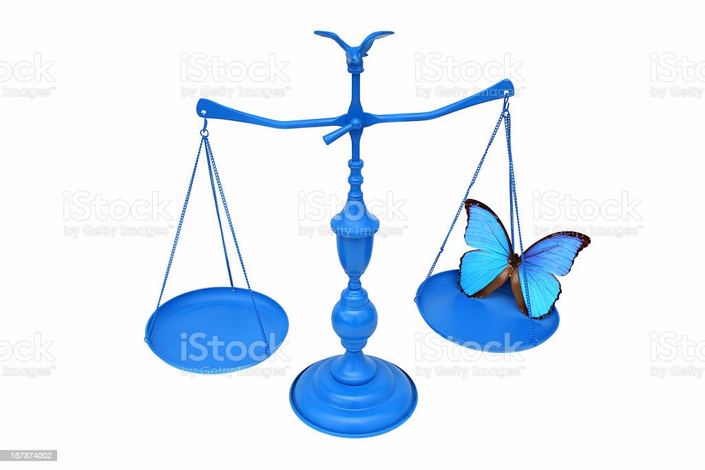 Scales of Justice with Butterfly royalty-free stock photo