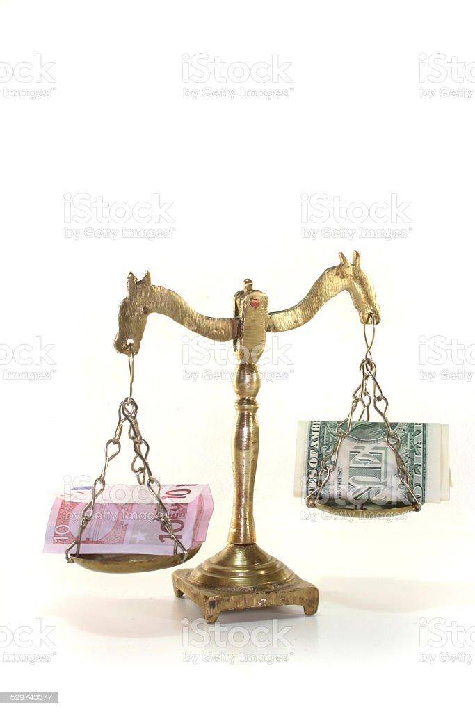 Scales with money stock photo