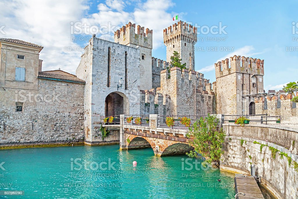 Scaliger Castle in Sirmione, Italy stock photo