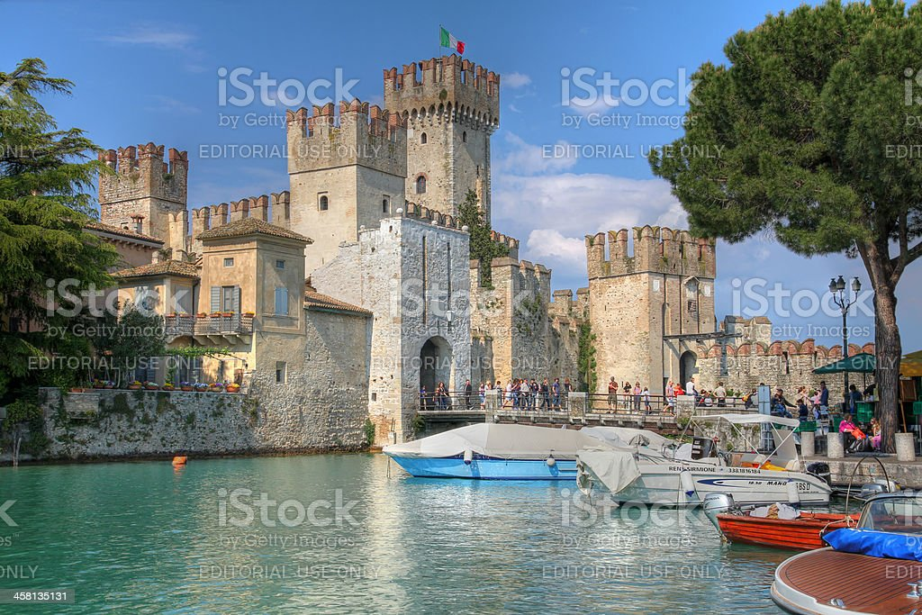 Scaliger Castle, Sirmione on Lake Garda, Italy stock photo