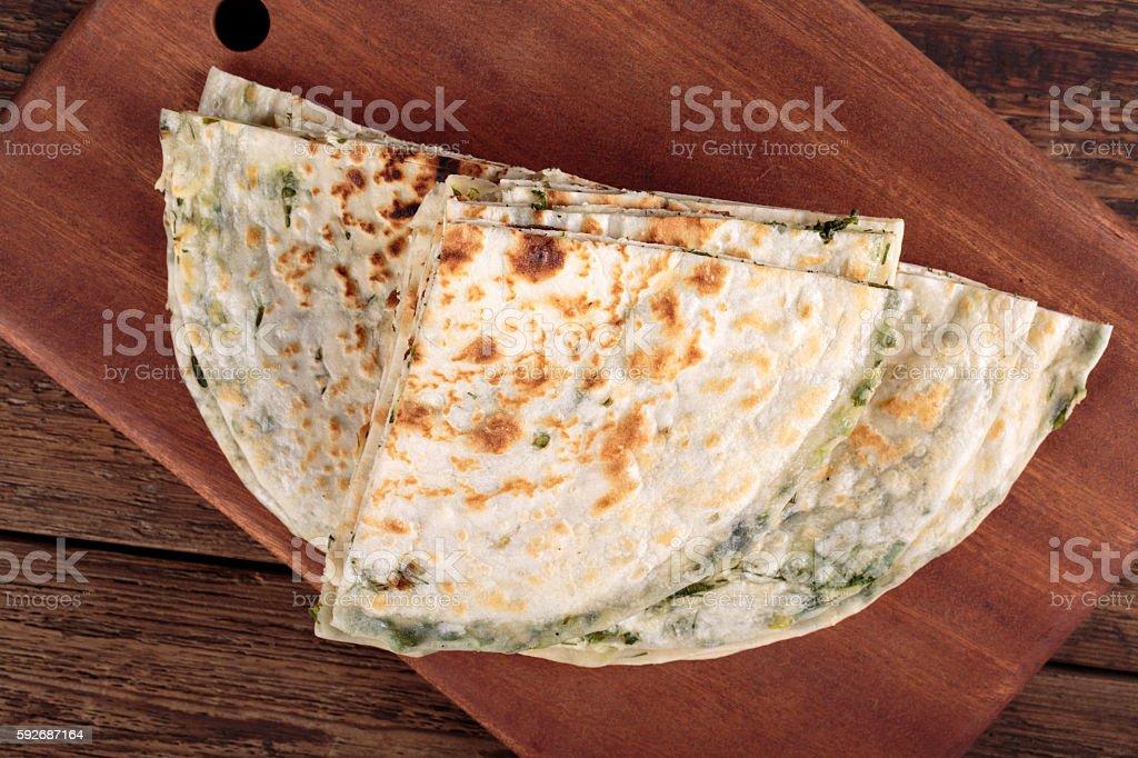 Scallion pancakes. stock photo