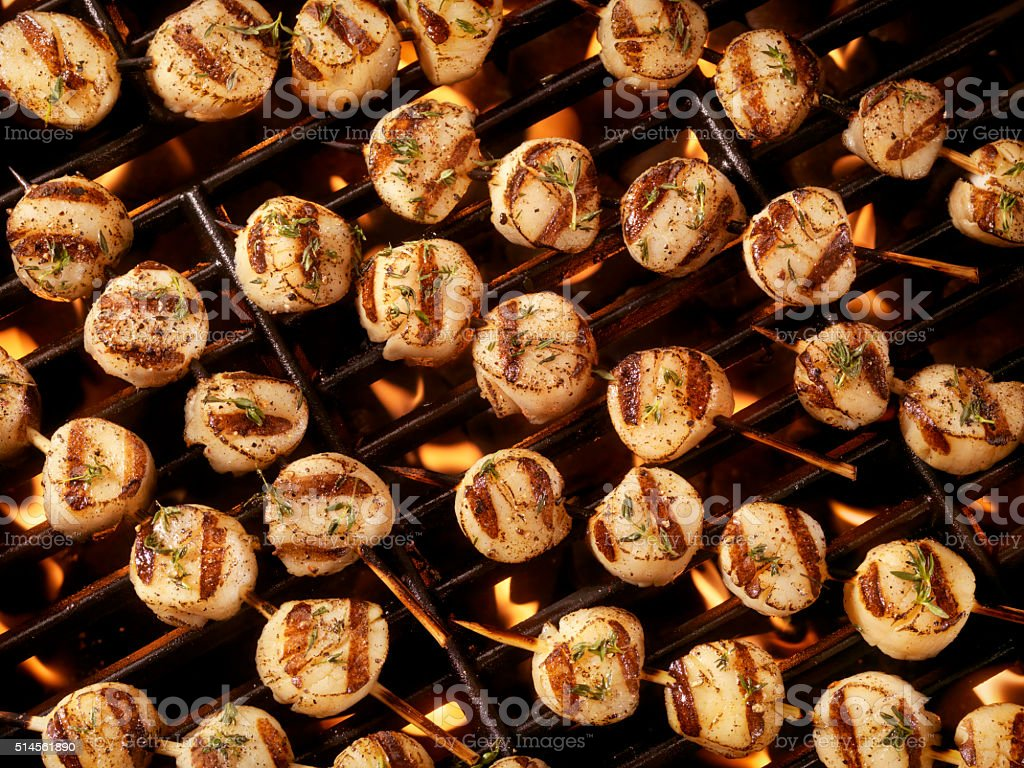 BBQ Scallop Kabobs on the Grill stock photo