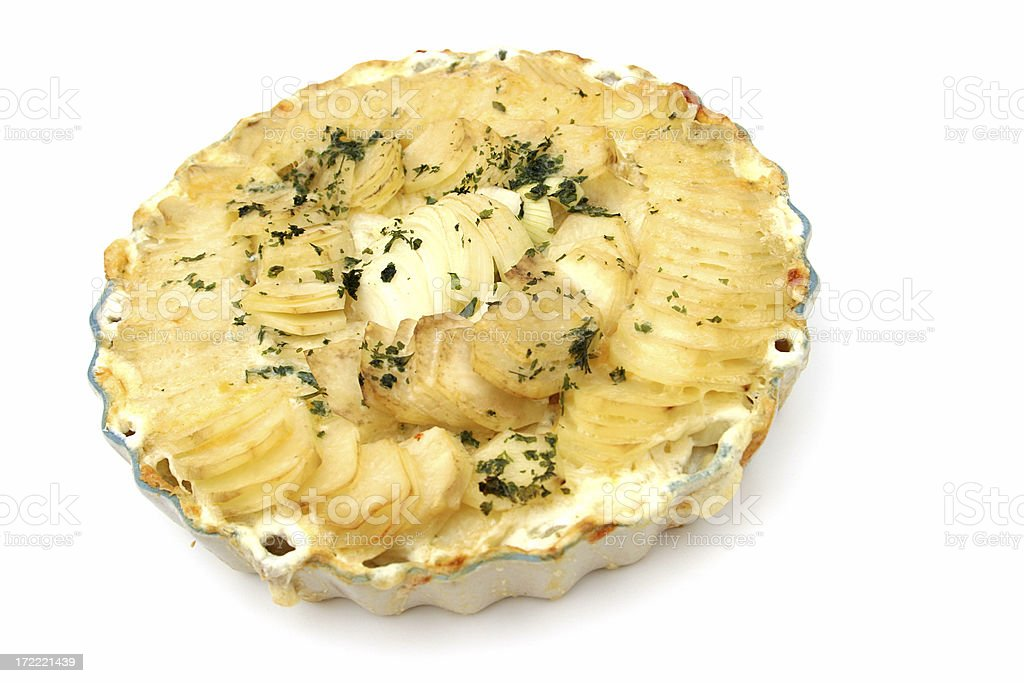 Scalloped Potatoes Isolated royalty-free stock photo