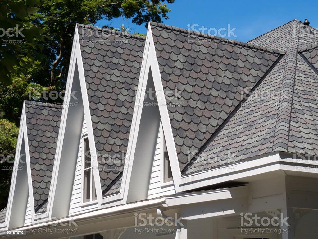 Scalloped Shingled Roof stock photo