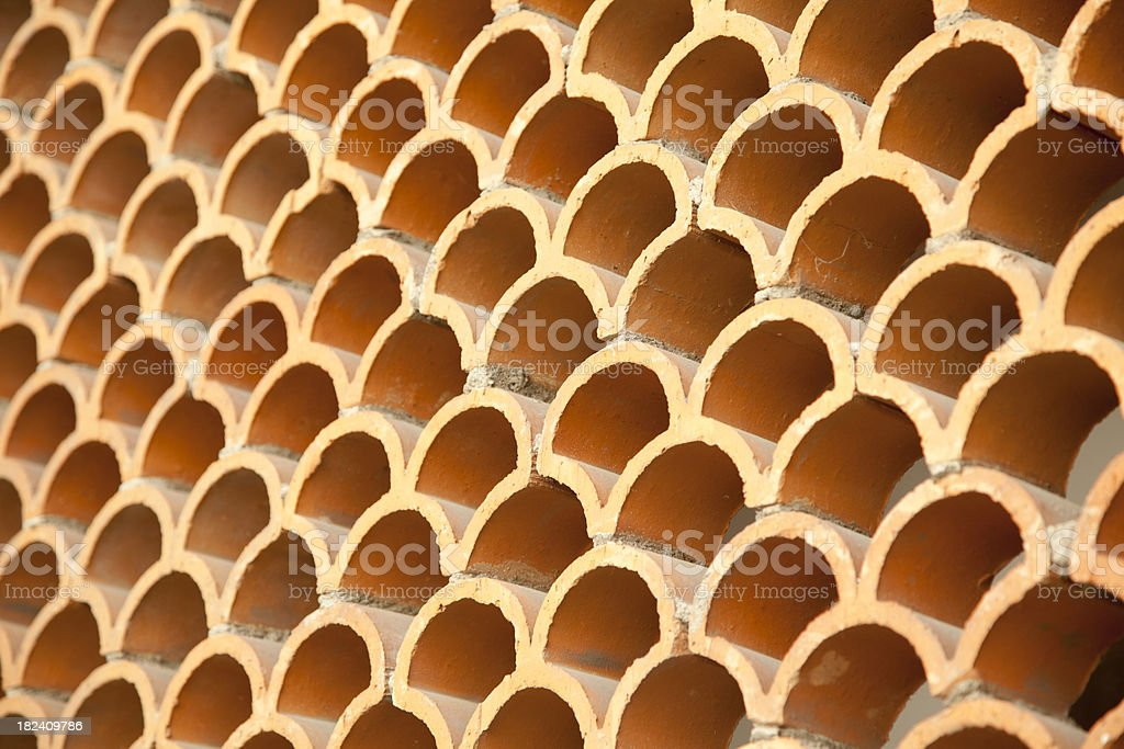 Scalloped Terra Cotta Tile Pattern stock photo