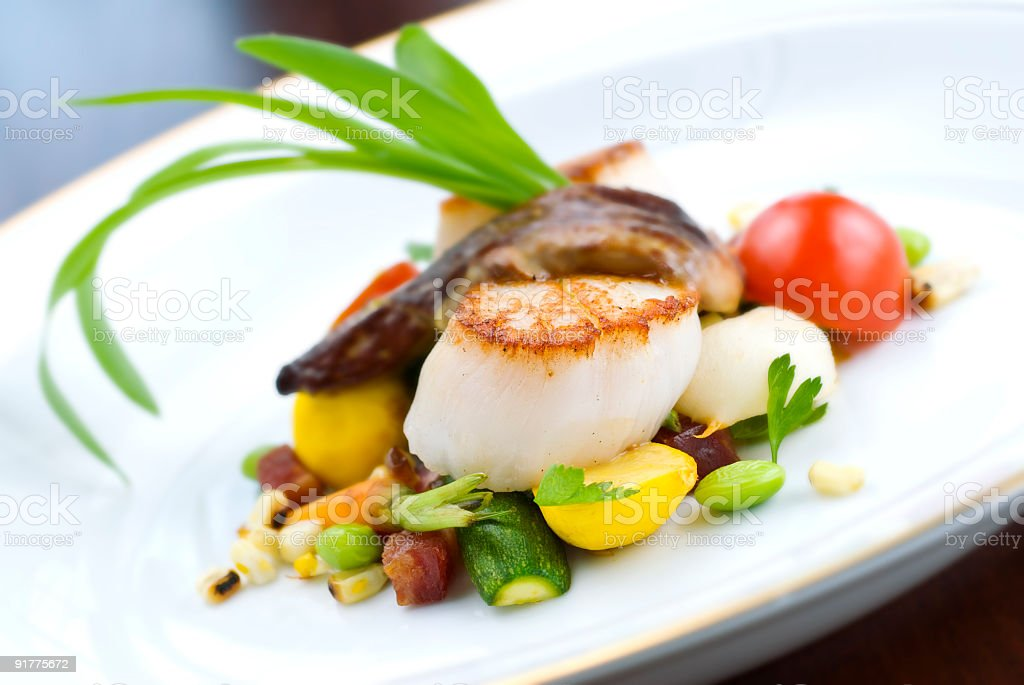 Scallops and Vegetables Appetizer royalty-free stock photo