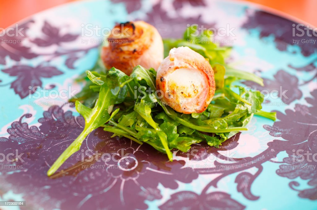 Scallops in bacon royalty-free stock photo