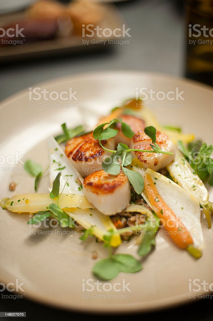 Scallops on a plate with watercress, endive, and baby carrots royalty-free stock photo