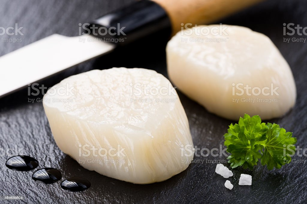 Scallops on black stone plate stock photo