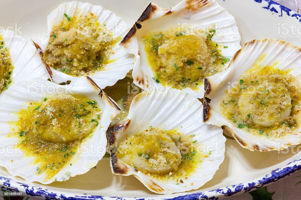 Scallops stuffed stock photo