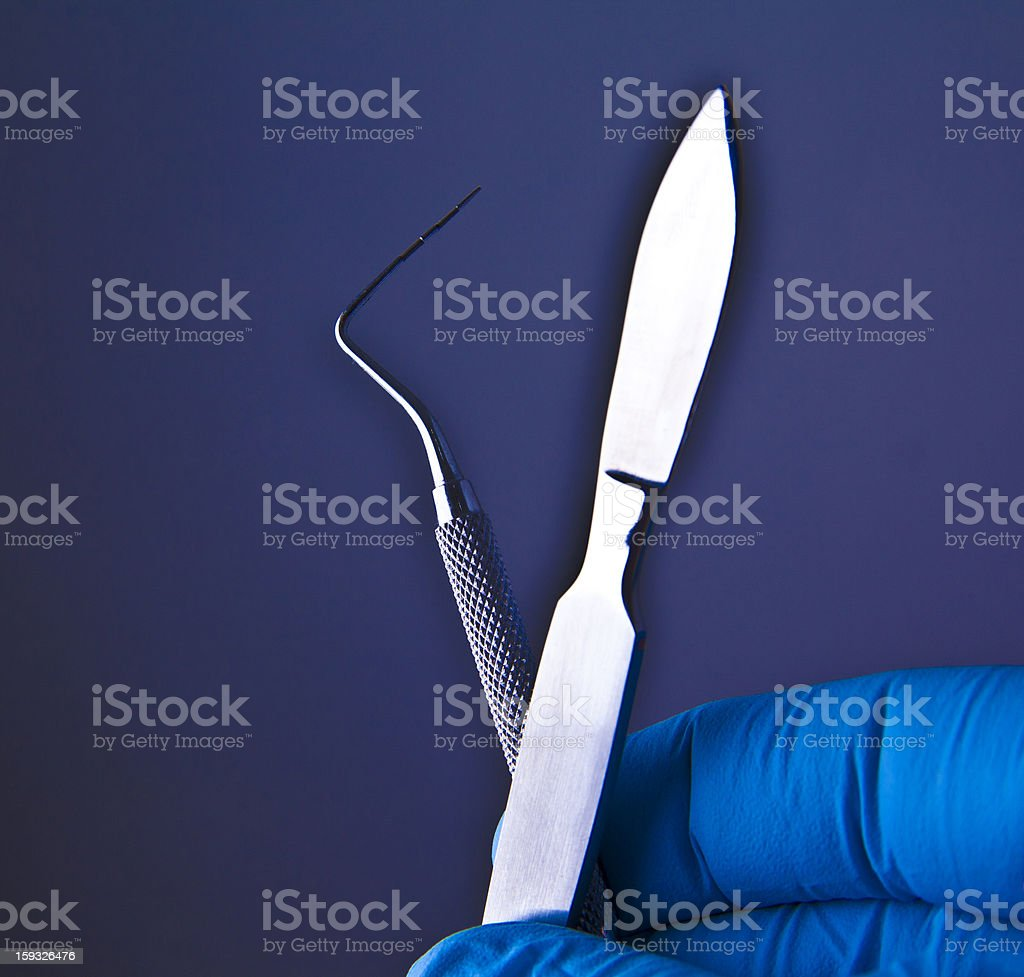 Scalpel and other dental appliances royalty-free stock photo