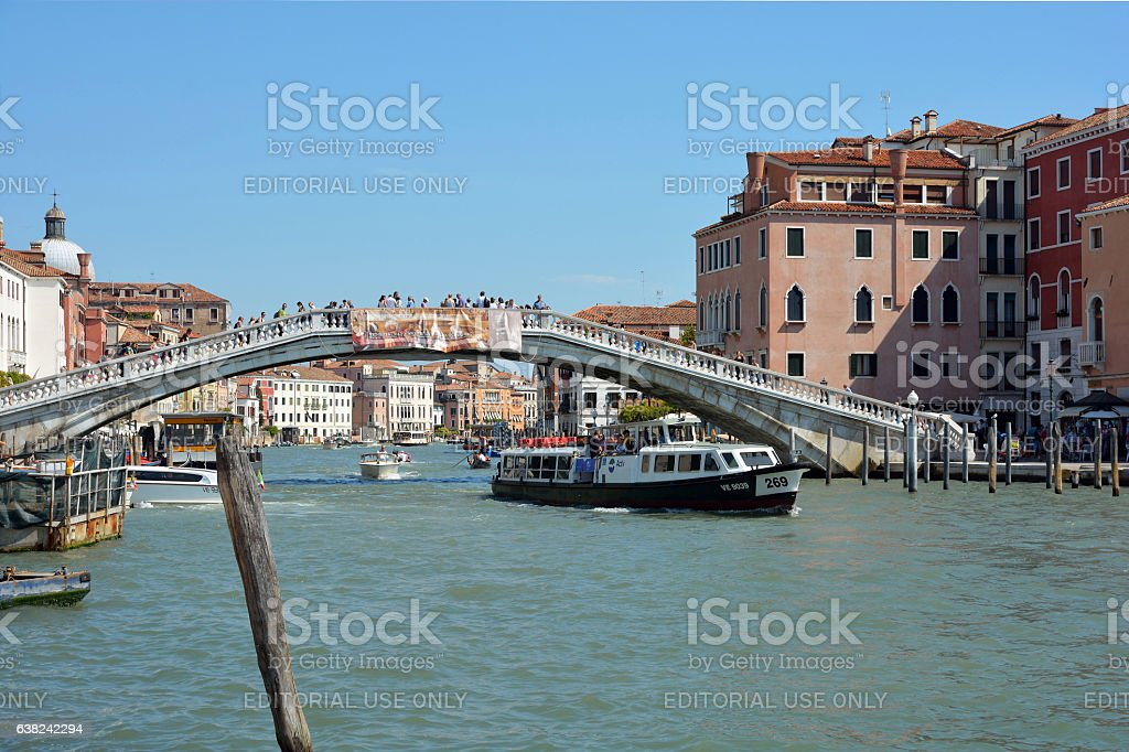 Scalzi Bridge at the Grand Canal in Venice - Italy. stock photo