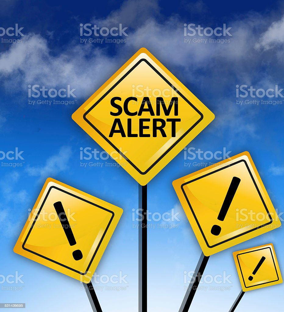 Scam alert ahead concept stock photo