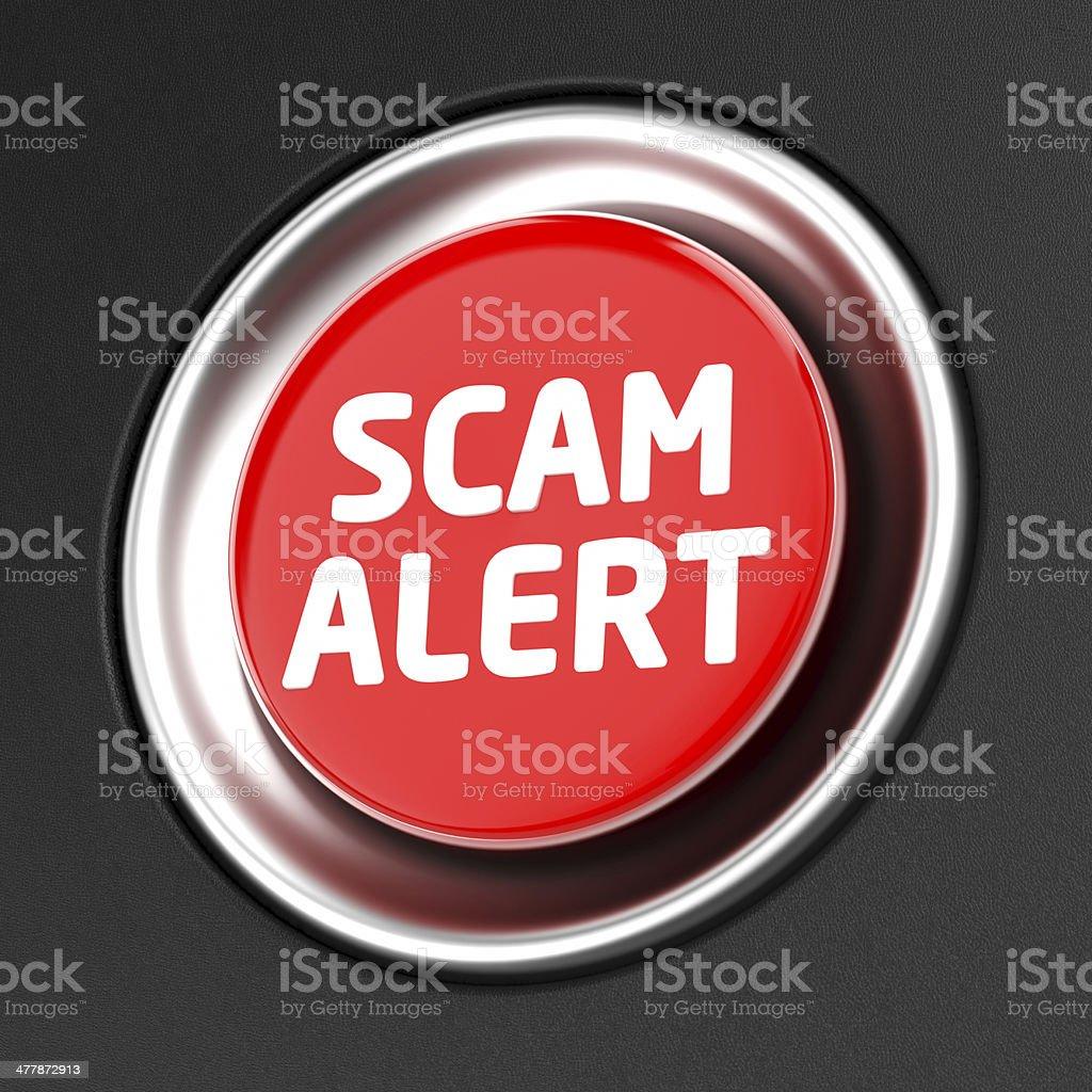 Scam Alert button stock photo