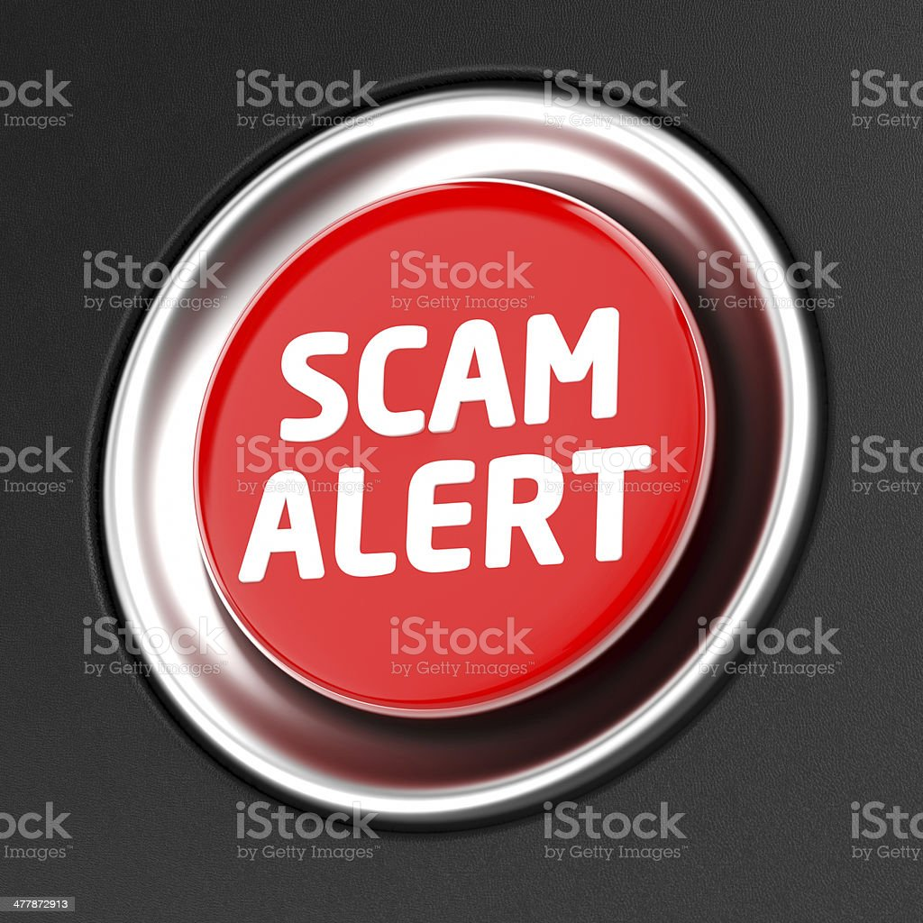 Scam Alert button stock photo