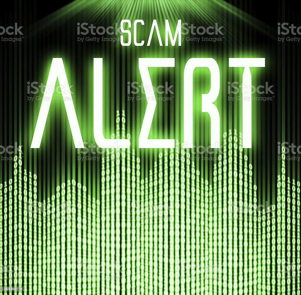 Scam alert with cyber binary code technology stock photo