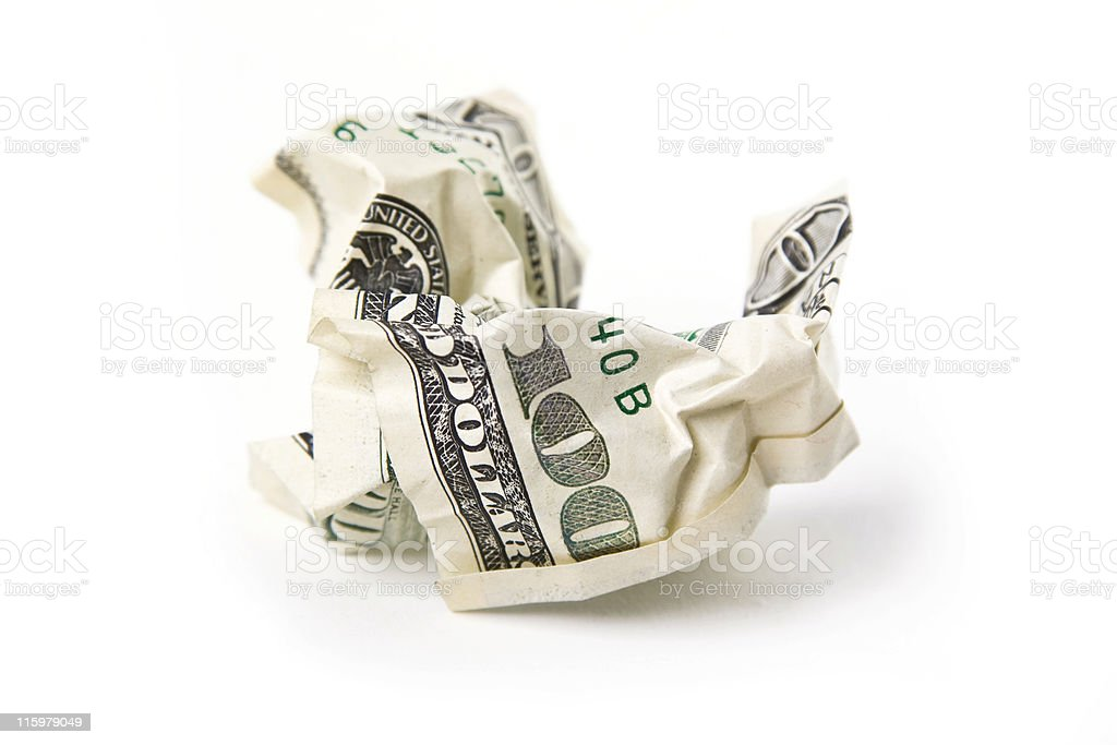 scam. crumpled one hundred dollars banknote royalty-free stock photo